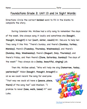 Foundations Grade 2 Unit 13 and 14: Sight Words Fill in the Blank