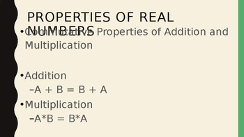 Foundations for Algebra - Properties of Real Numbers