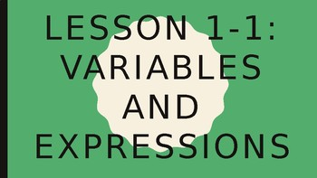 Foundations for Algebra - Variables and Expressions