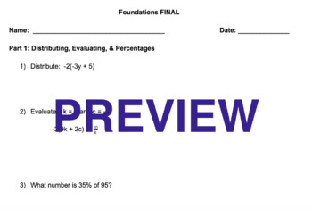 Foundations of Algebra FINAL EXAM