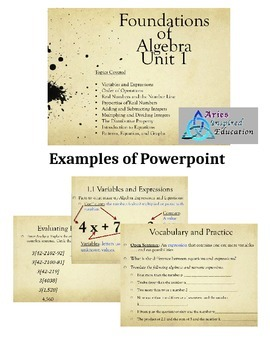 Foundations of Algebra Guided Notes and Powerpoint (prezi) Presentation