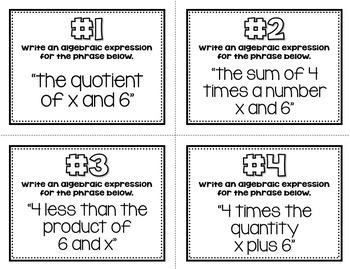 Foundations of Algebra (Task Cards & MATHO)