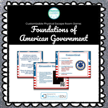 Foundations of American Government Customizable Escape Room / Breakout Game