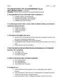 Intro to American Government Quiz & Answer Key