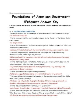 Foundations Of American Government Webquest Distance Learning Tpt
