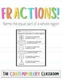 Foundations of Fractions: Name the equal part of a whole region
