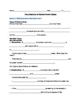 Foundations of Government Civics Guided Notes