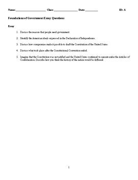 Foundations of Government Discussion/Essay Questions