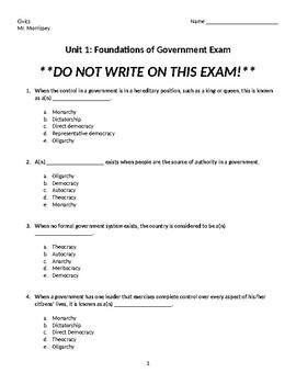 Foundations of Government Exam