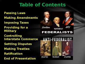 The Federalists v. The Anti-Federalists