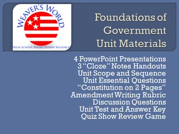 Constitution Unit - PPT, Lesson with Writing Assignment, Exam, Review Game, more