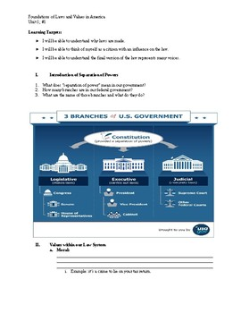 Foundations of Laws and Values Student Handout
