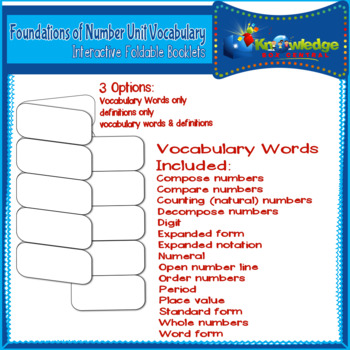 Foundations of Number Unit Vocabulary Words Interactive Foldables for 3rd Grade