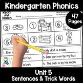 Kindergarten Phonics Printables - Unit 5
