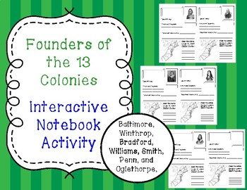 Founders of the 13 Colonies Interactive Notebook Template