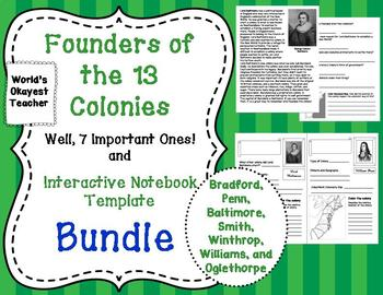 Founders of the 13 Colonies and Interactive Notebook Template Bundle