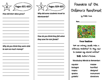Founders of the Children's Rain Forest Trifold - Imagine It 5th Gr Unit 6 Wk 1