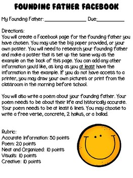 Founding Fathers Facebook Page Project with Poem