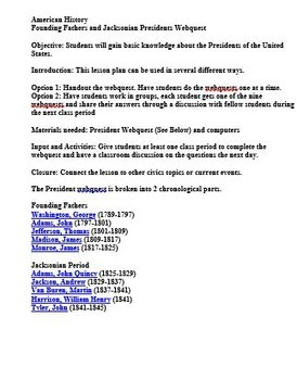 Founding Fathers and Jacksonian Webquest (George Washington to John Tyler)