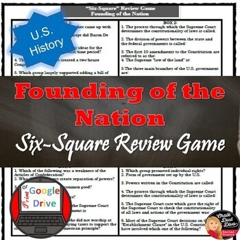 Founding of the Nation Six Square Review Game (U.S. History)