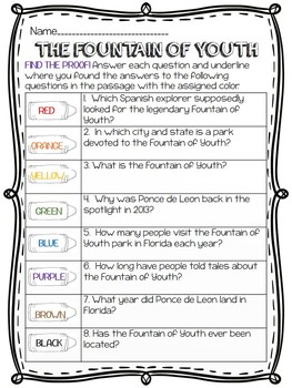 Fountain of Youth; Juan Ponce de Leon Reading Comprehension Worksheet; Explorer