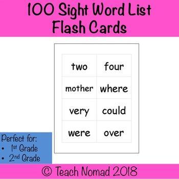 100 Sight Word List Flash Cards