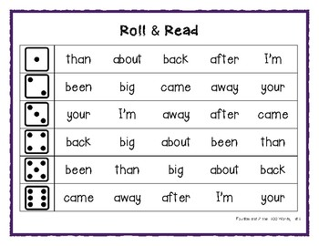 Fountas & Pinnell 100 Word Roll & Read