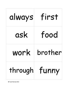 Fountas & Pinnell 200 Sight Word List Flash Cards
