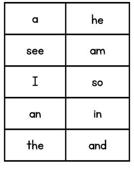 Fountas & Pinnell 25 High Frequency Kindergarten Word Cards
