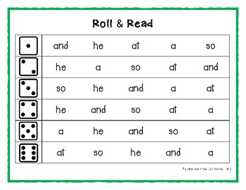 Fountas & Pinnell 25 Word Roll & Read