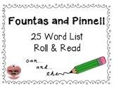 Fountas & Pinnell 25 Word Roll & Read