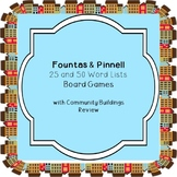 Fountas & Pinnell 25 and 50 Word Lists Board Games  with C