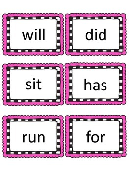 Fountas & Pinnell  50 High Frequency Sight Word Flashcards/Word Wall  Frames