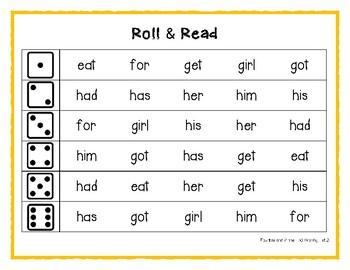 Fountas & Pinnell 50 Word Roll & Read