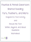 FREE**Fountas & Pinnell Classroom Shared Reading Worksheet