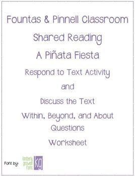 Fountas & Pinnell Classroom Shared Reading Worksheet A Pinata Fiesta