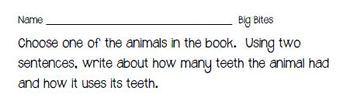 Fountas & Pinnell Classroom Shared Reading Worksheet Big Bites