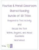 Fountas & Pinnell Classroom Shared Reading Worksheet Bundl