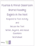 Fountas & Pinnell Classroom Shared Reading Worksheet Eaglets in the Nest