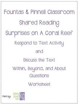 Fountas & Pinnell Classroom Shared Reading Worksheet Surprises on a Coral Reef