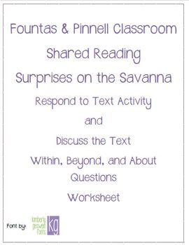 Fountas & Pinnell Classroom Shared Reading Worksheet Surprises on the Savanna