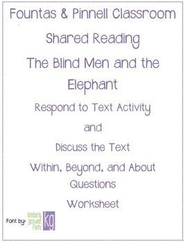 Fountas & Pinnell Classroom Shared Reading Worksheet The Blind Men & Elephant