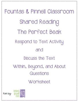 Fountas & Pinnell Classroom Shared Reading Worksheet The Perfect Beak