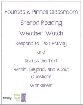 Fountas & Pinnell Classroom Shared Reading Worksheet Weather Watch