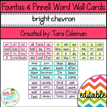 Fountas & Pinnell Word Wall Cards Editable (bright chevron)