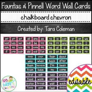 Fountas & Pinnell Word Wall Cards Editable (chalkboard/chevron)