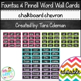 Fountas & Pinnell Word Wall Cards Editable (chalkboard/chevron)