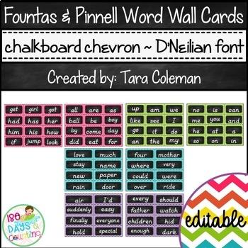 Fountas & Pinnell Editable Word Wall Cards (chalkboard/chevron~D'NEALIAN)