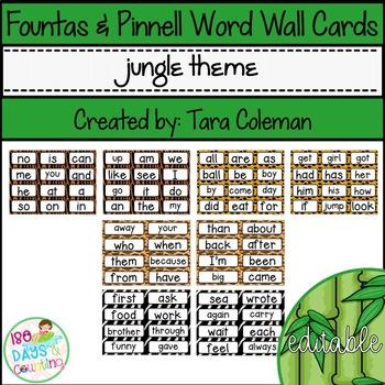 Fountas & Pinnell Editable Word Wall Cards (jungle theme)