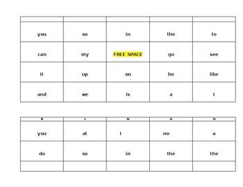 Fountas & Pinnell First 25 Sight Word Bingo